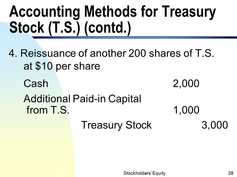 Accounting Methods for Treasury Stock (T.S.) (contd.)