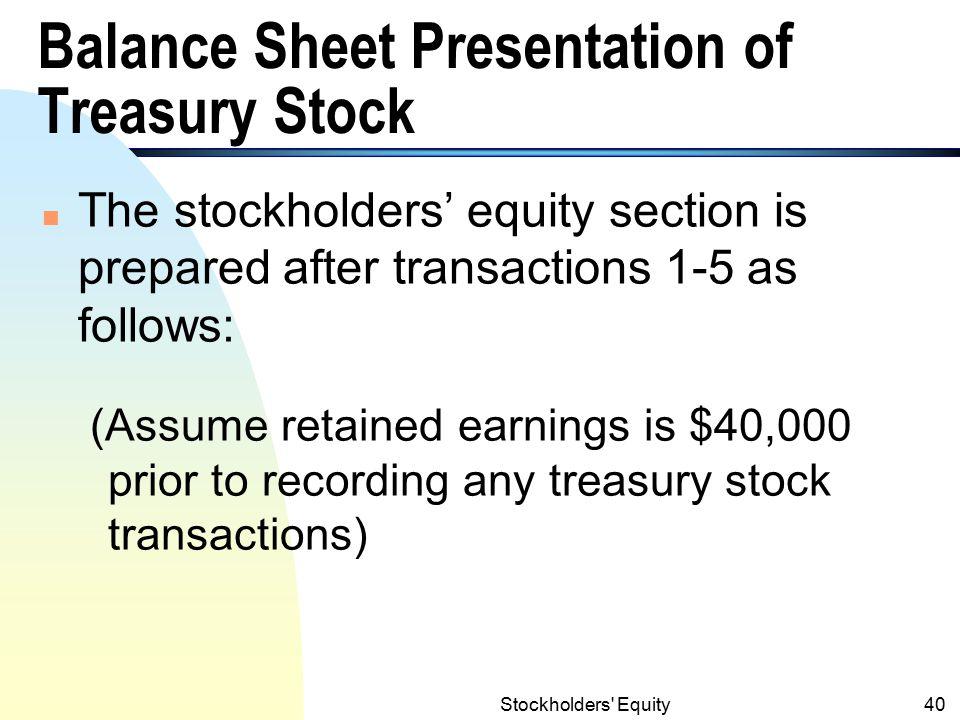 Balance Sheet Presentation of Treasury Stock