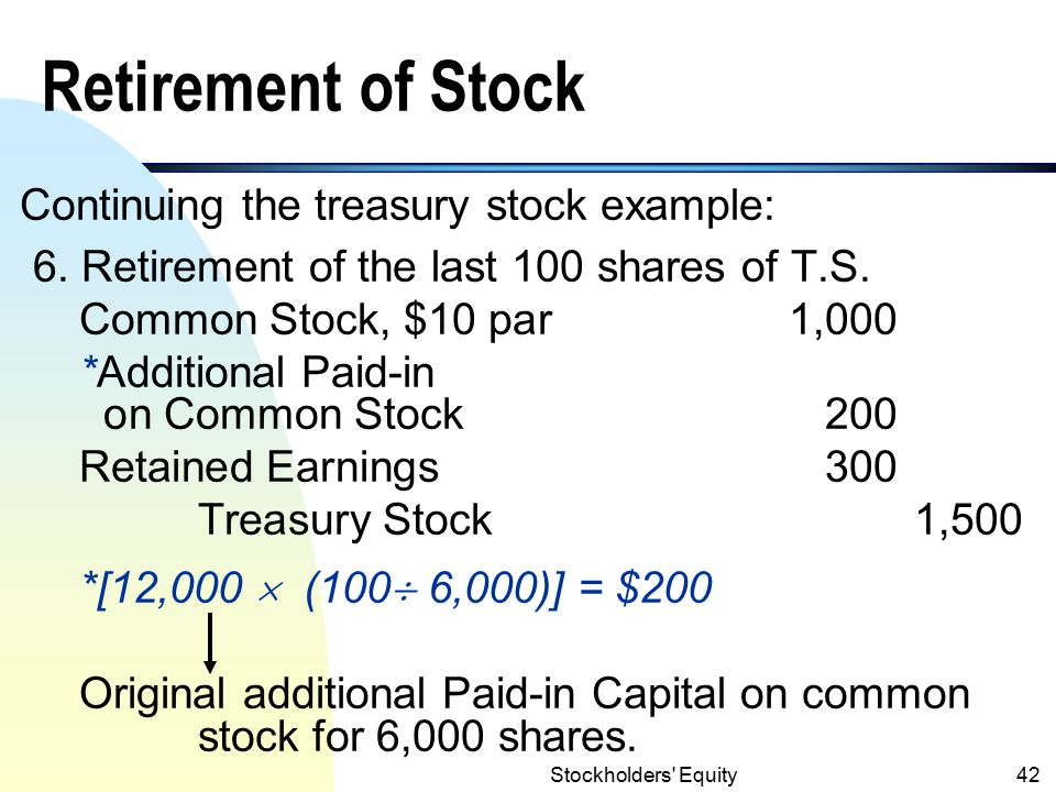 Retirement of Stock Continuing the treasury stock example: