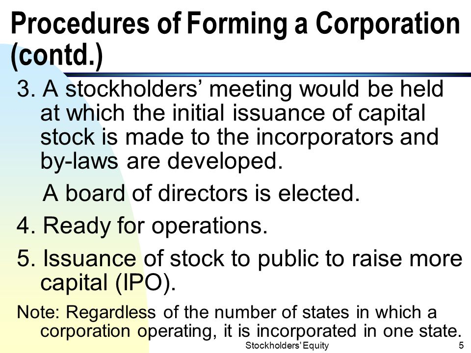 Procedures of Forming a Corporation (contd.)
