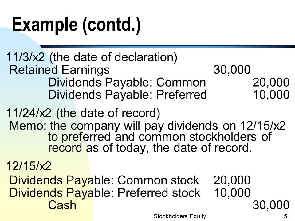 Example (contd.) 11/3/x2 (the date of declaration)