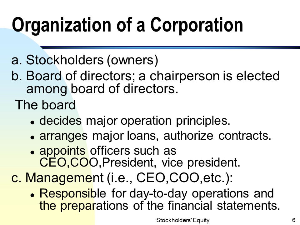 Organization of a Corporation