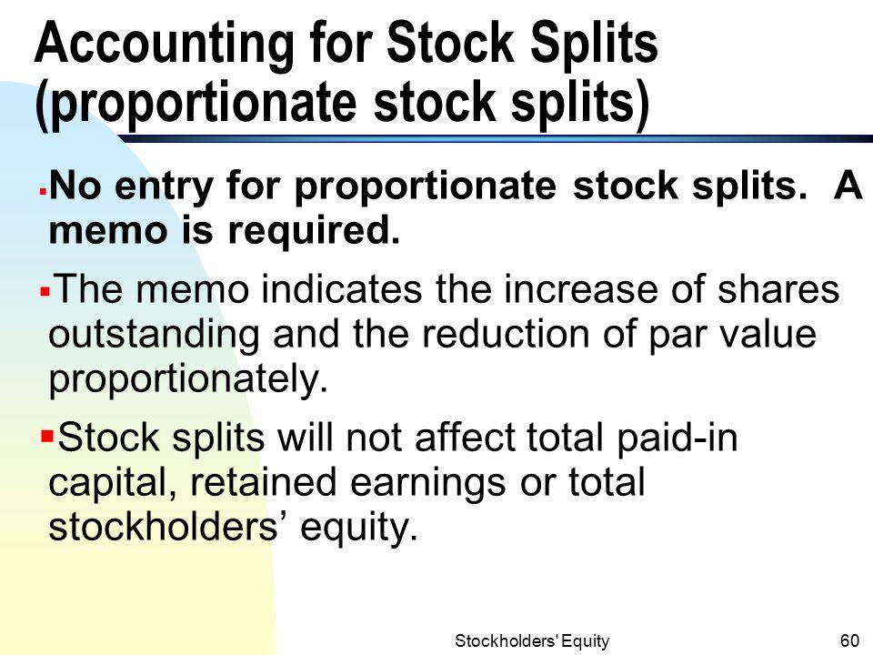 Accounting for Stock Splits (proportionate stock splits)