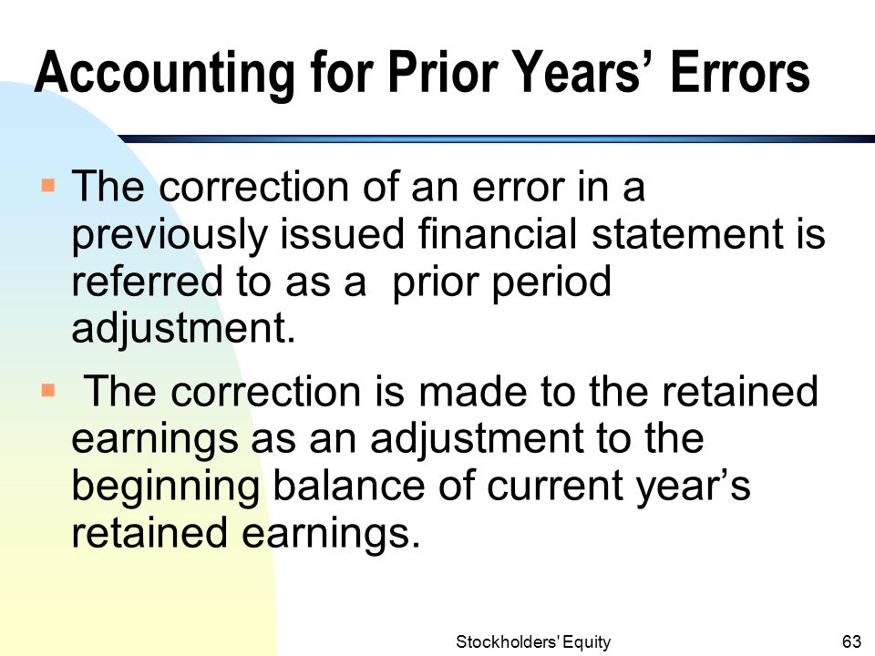 Accounting for Prior Years' Errors