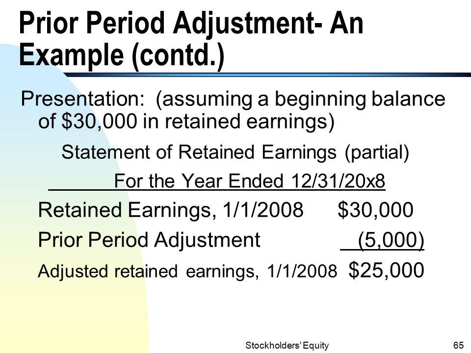 Prior Period Adjustment- An Example (contd.)