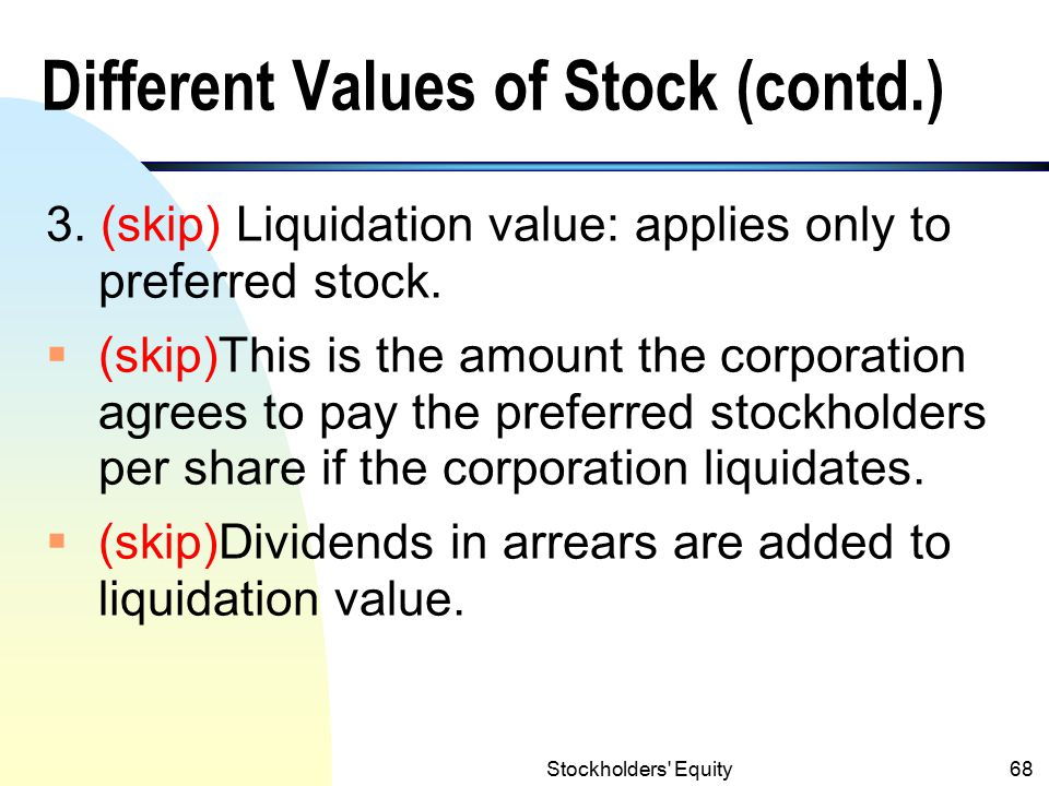 Different Values of Stock (contd.)