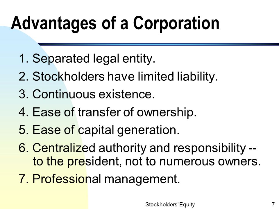 Advantages of a Corporation