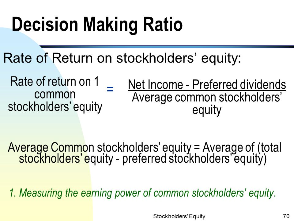 Decision Making Ratio = Rate of Return on stockholders' equity: