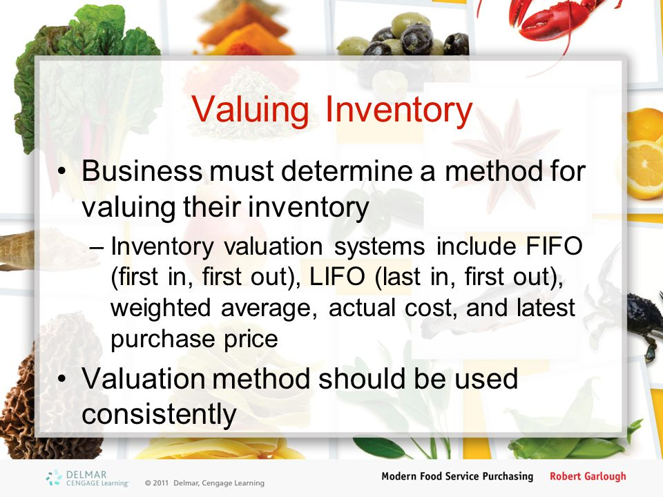 Valuing Inventory Business must determine a method for valuing their inventory.