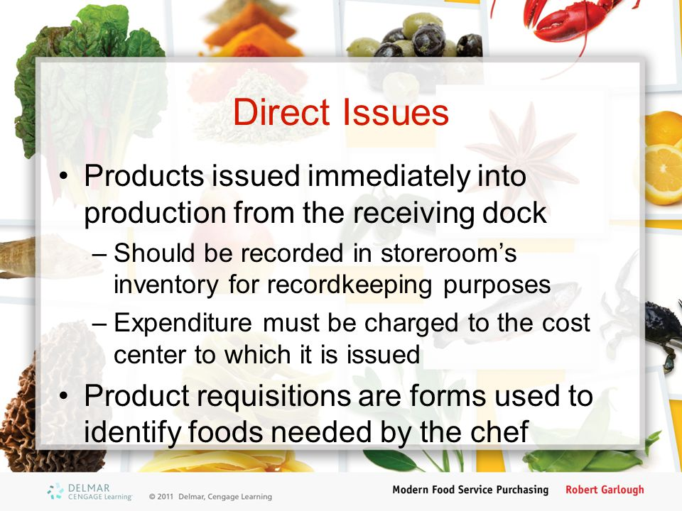 Direct Issues Products issued immediately into production from the receiving dock.