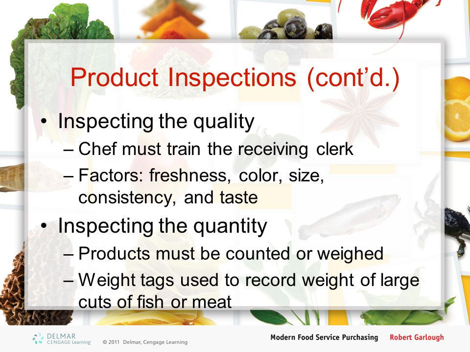 Product Inspections (cont'd.)
