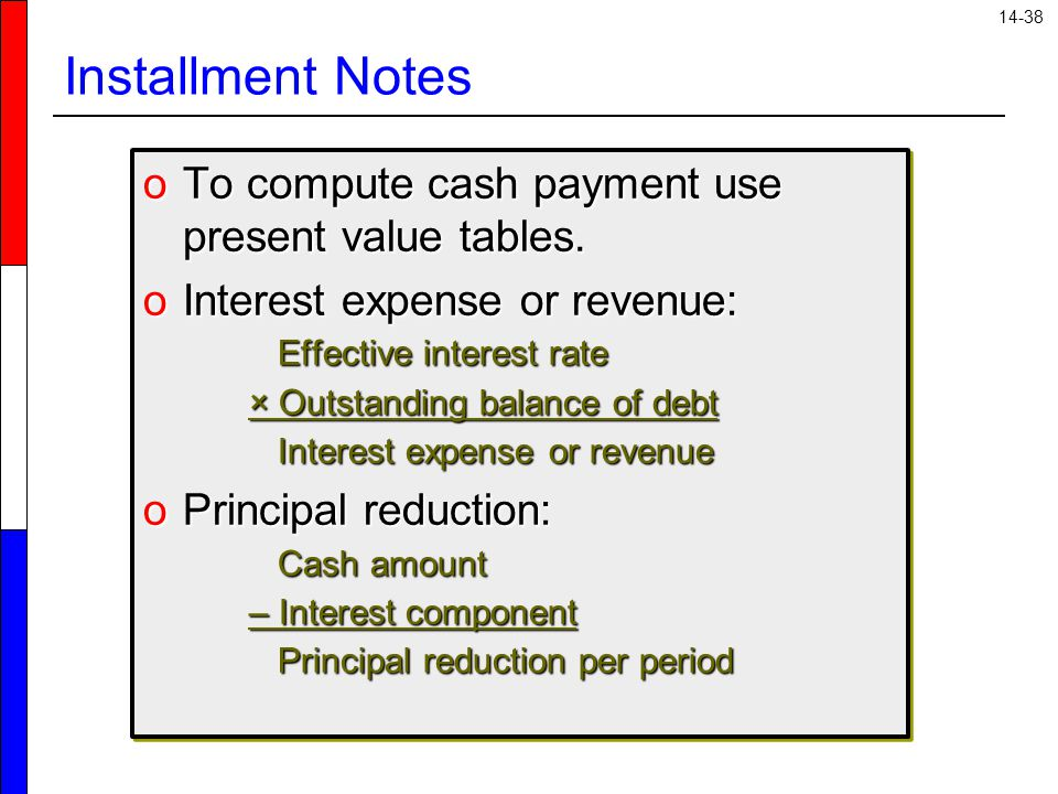 Installment Notes To compute cash payment use present value tables.