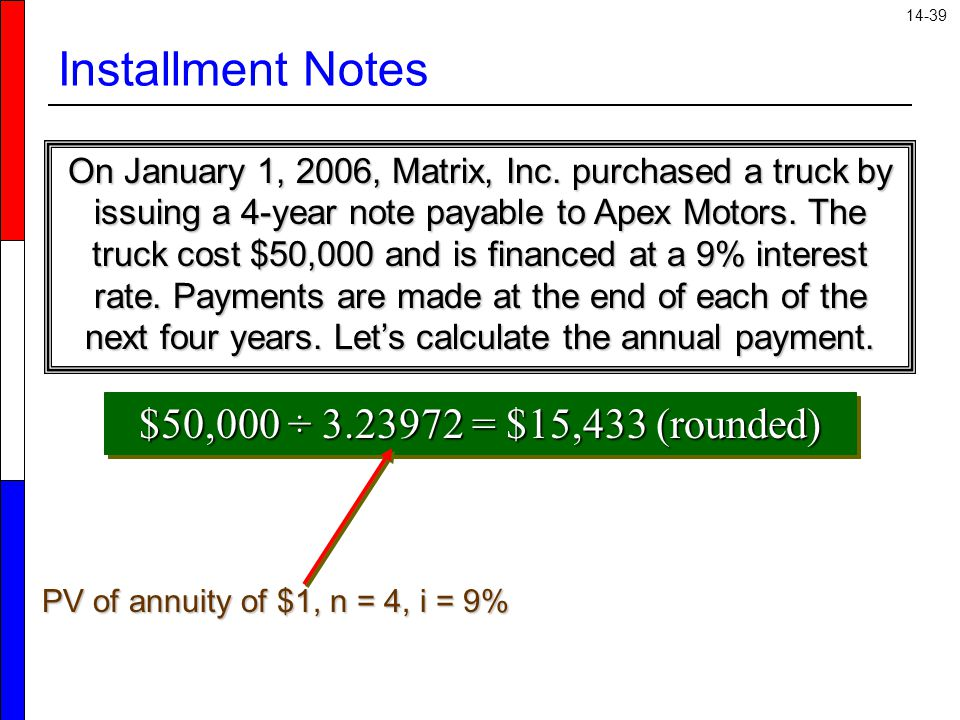 Installment Notes $50,000 ÷ 3.23972 = $15,433 (rounded)