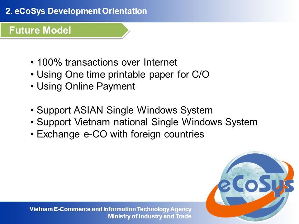 Future Model 100% transactions over Internet. Using One time printable paper for C/O. Using Online Payment.