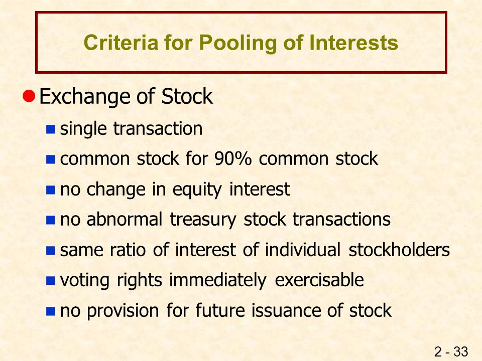 Criteria for Pooling of Interests