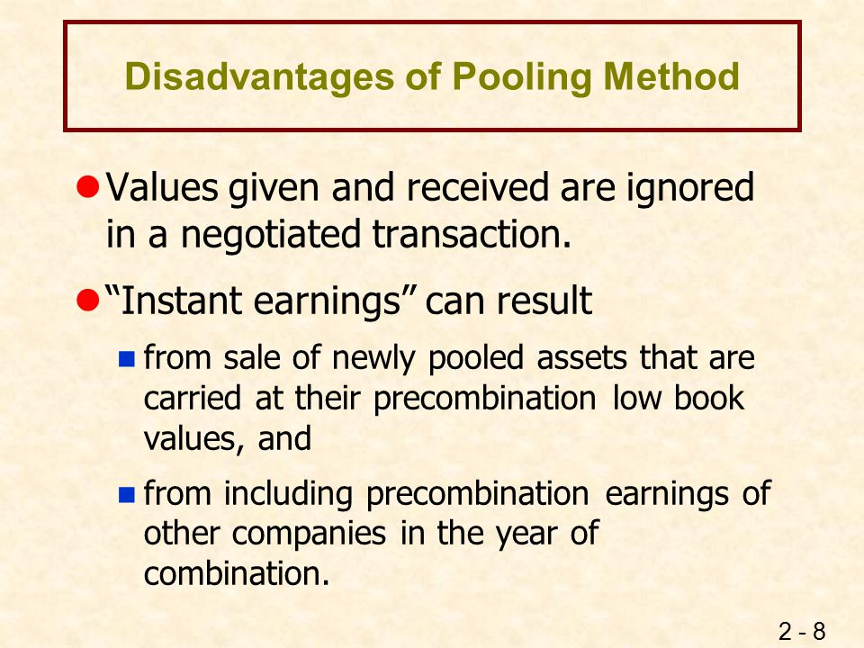 Disadvantages of Purchase Method