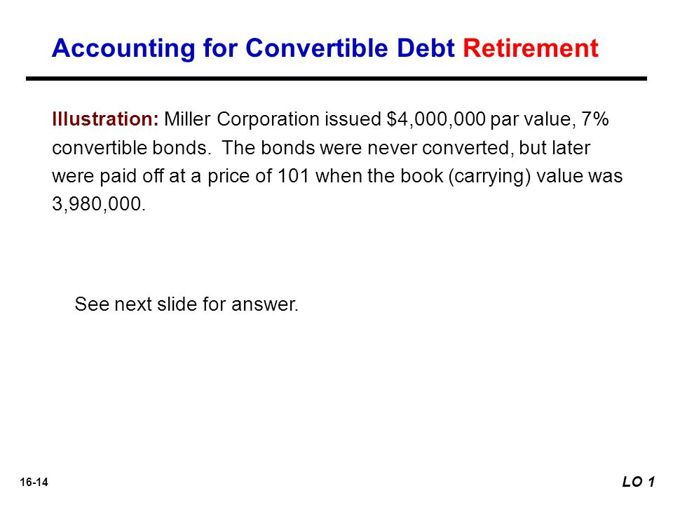 Accounting for Convertible Debt Retirement