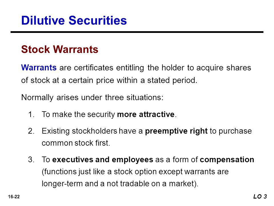 Dilutive Securities Stock Warrants