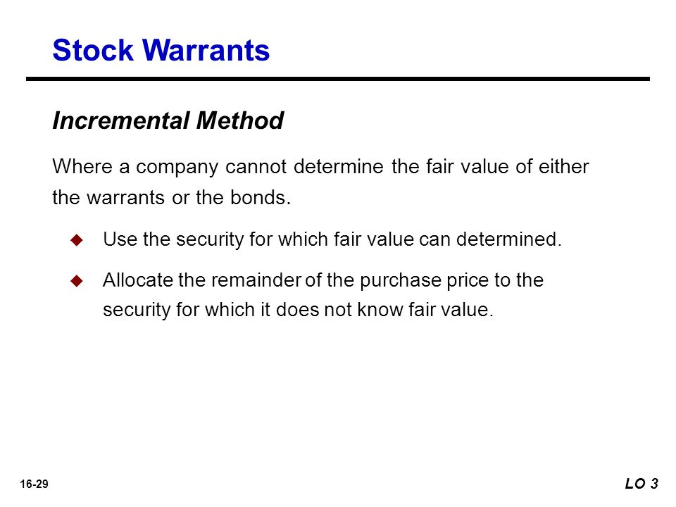 Stock Warrants Incremental Method