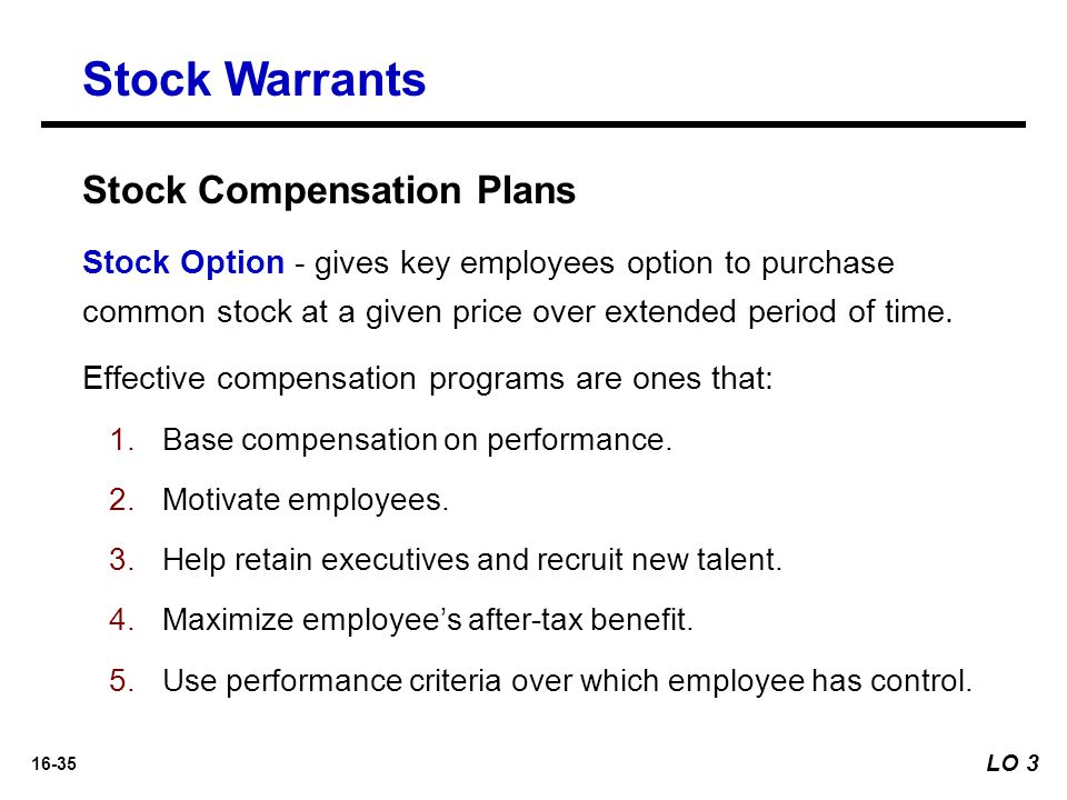 Employee stock options versus warrants