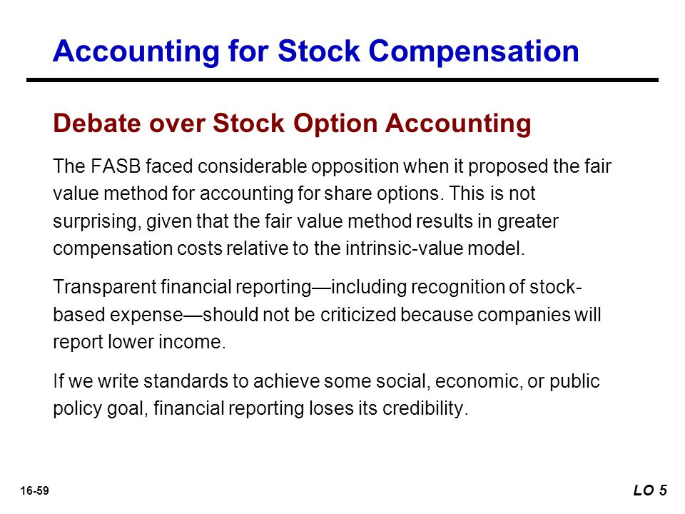 Compare and contrast the intrinsic-value and fair value method of accounting for stock options