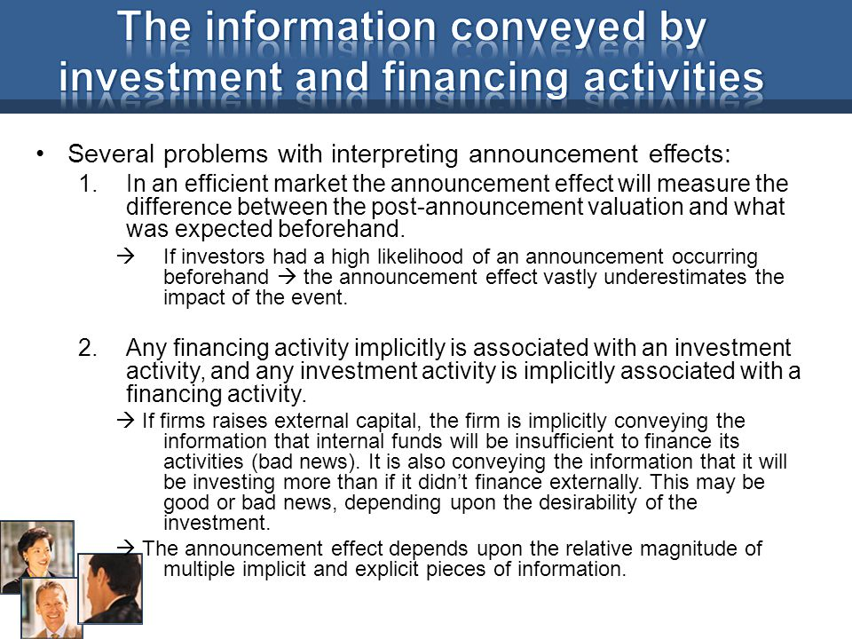 The information conveyed by investment and financing activities