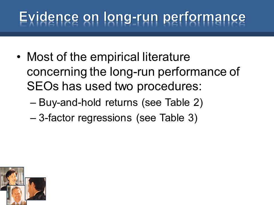 Evidence on long-run performance