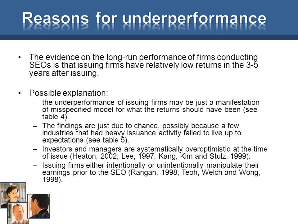 Reasons for underperformance