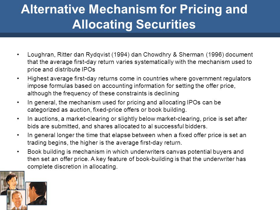 Alternative Mechanism for Pricing and Allocating Securities