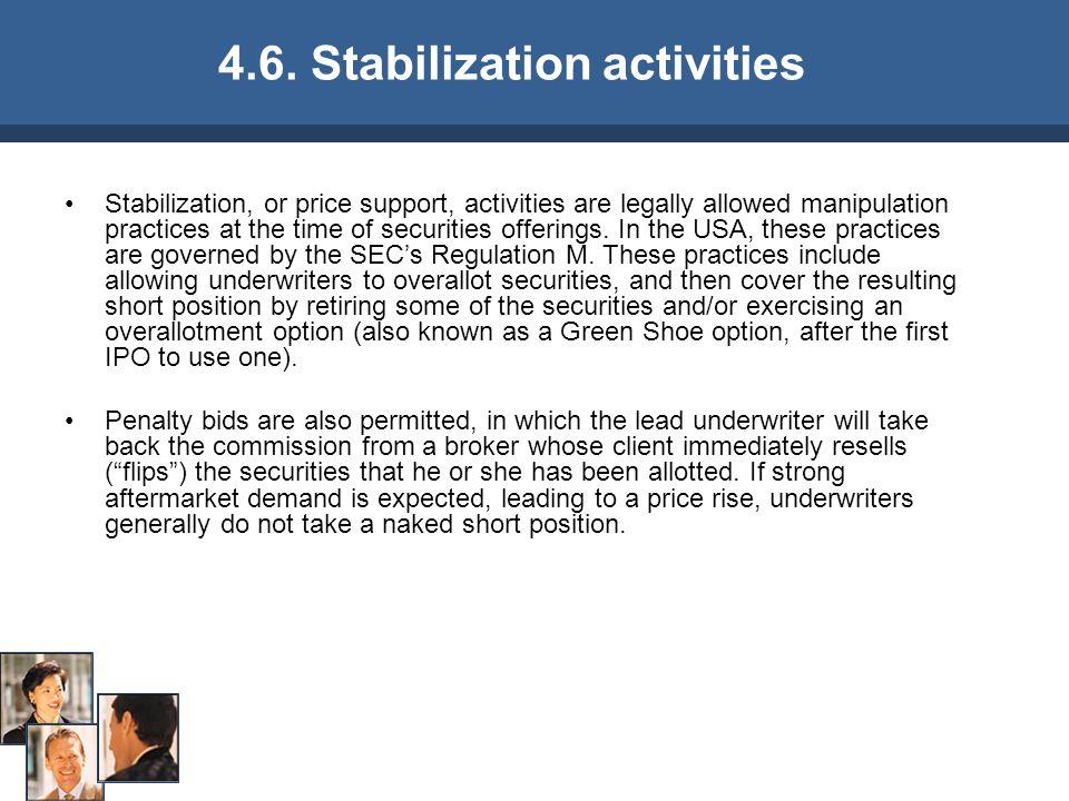 4.6. Stabilization activities