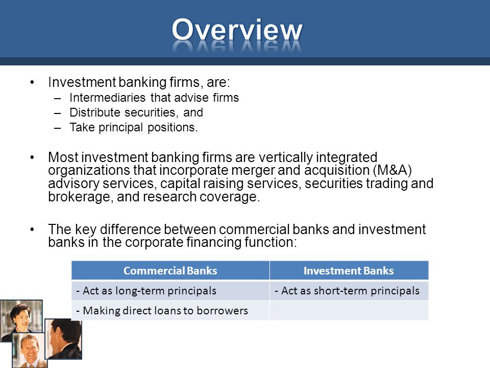 Overview Investment banking firms, are: