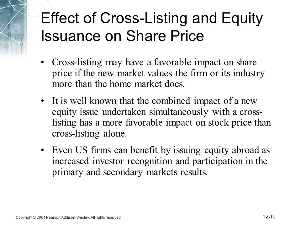 Effect of Cross-Listing and Equity Issuance on Share Price