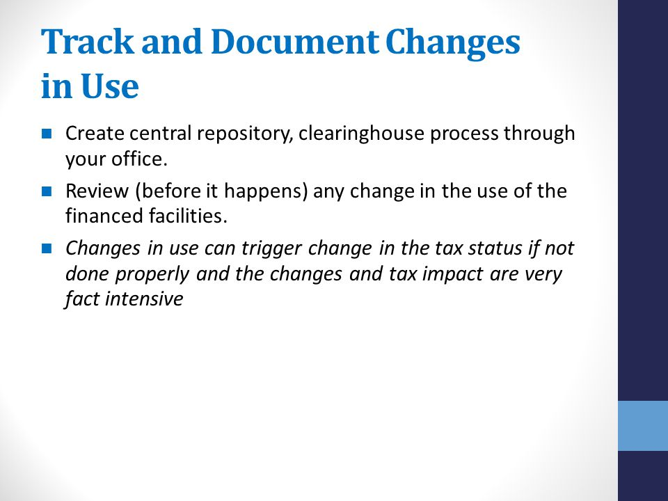 Track and Document Changes in Use