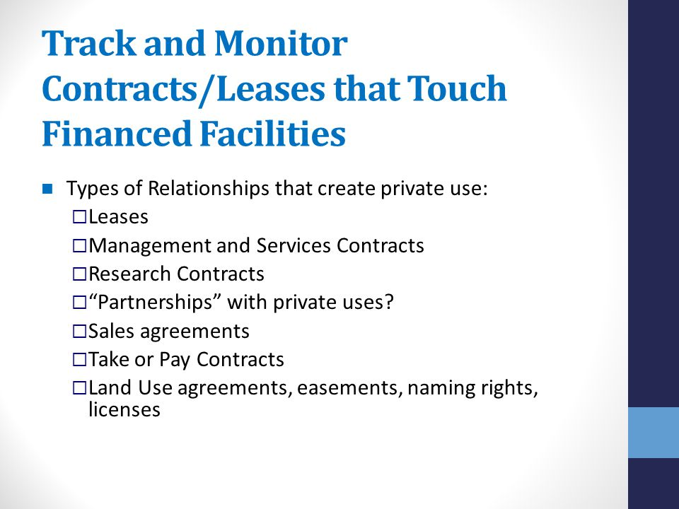 Track and Monitor Contracts/Leases that Touch Financed Facilities