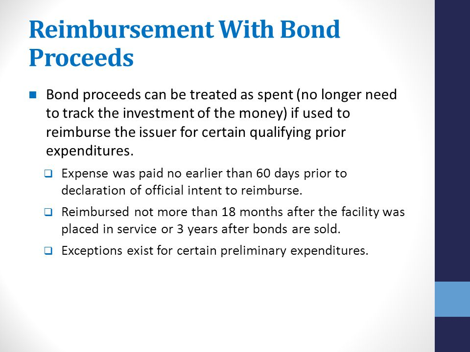 Reimbursement With Bond Proceeds