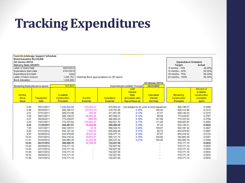 Tracking Expenditures