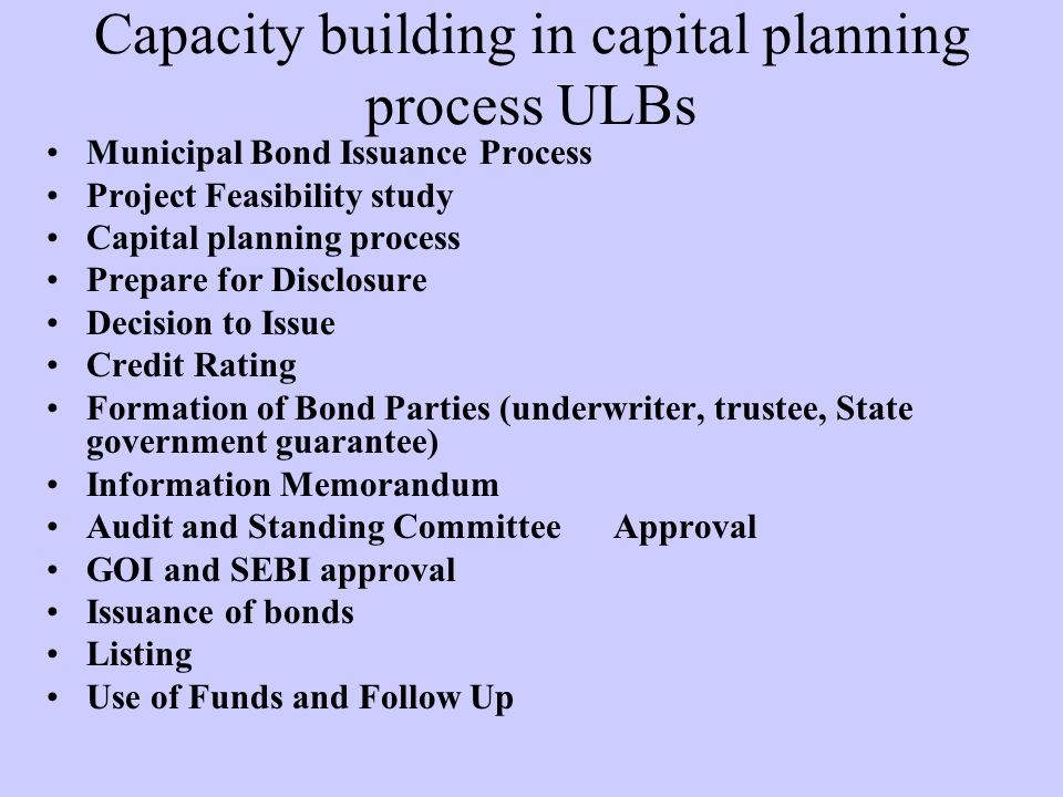 Capacity building in capital planning process ULBs
