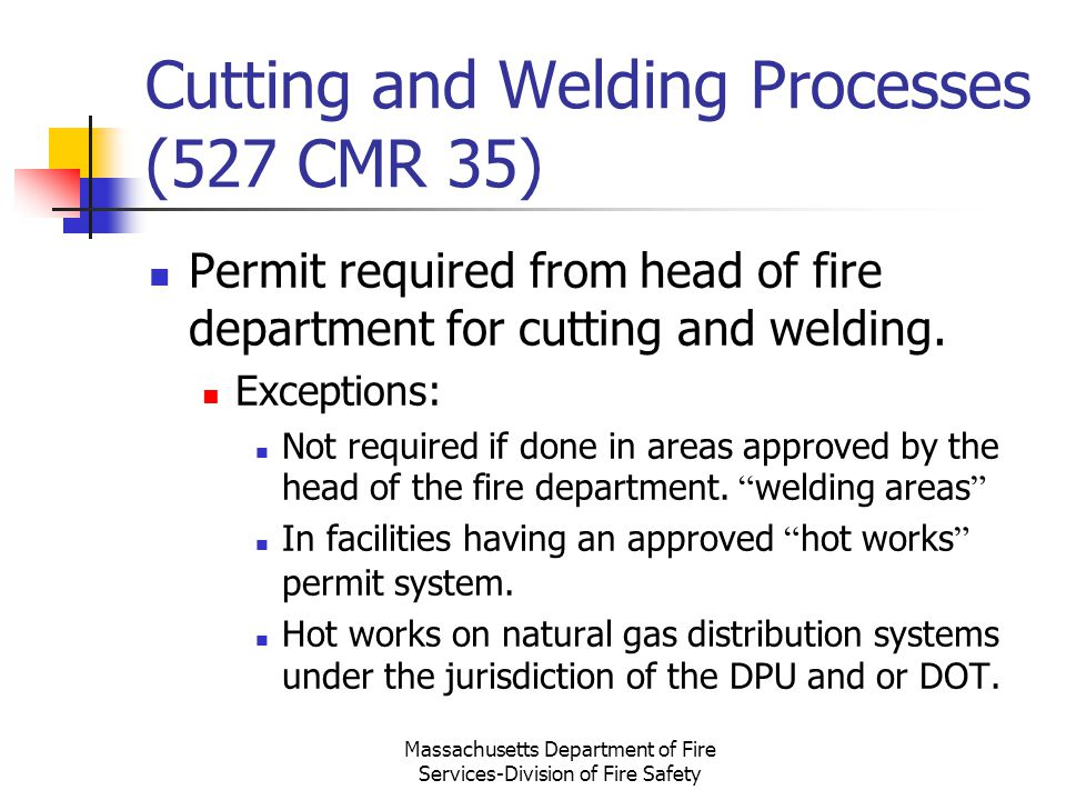 Cutting and Welding Processes (527 CMR 35)