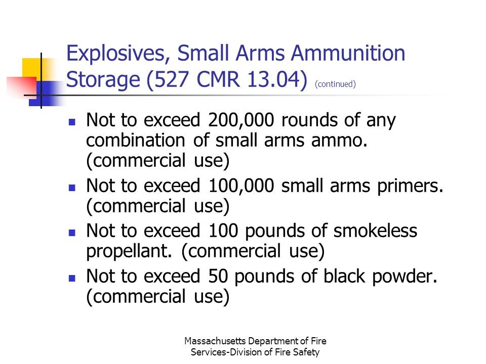 Explosives, Small Arms Ammunition Storage (527 CMR 13.04) (continued)