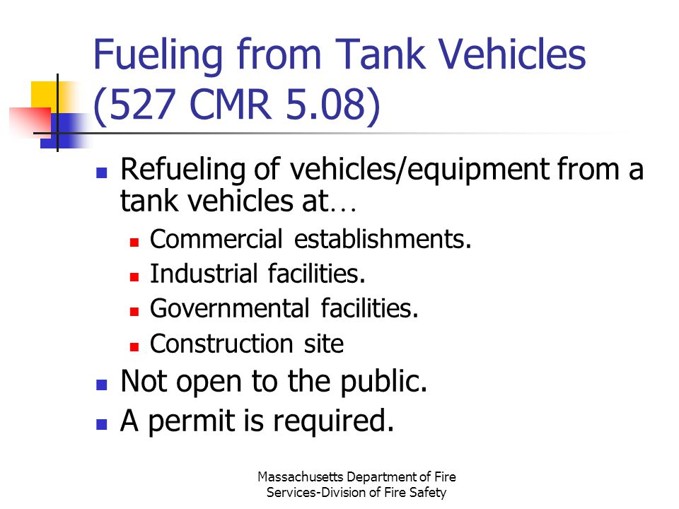 Fueling from Tank Vehicles (527 CMR 5.08)