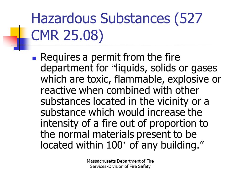Hazardous Substances (527 CMR 25.08)