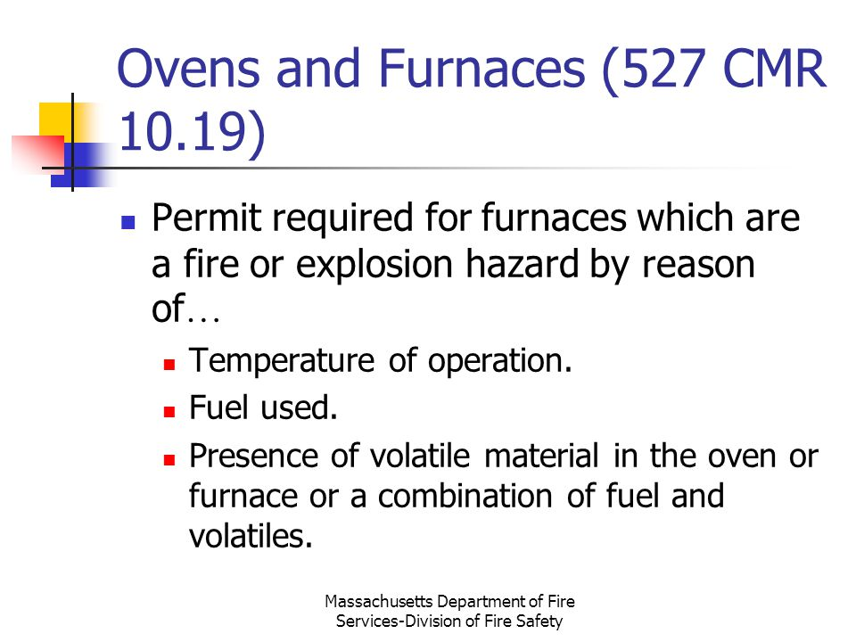 Ovens and Furnaces (527 CMR 10.19)