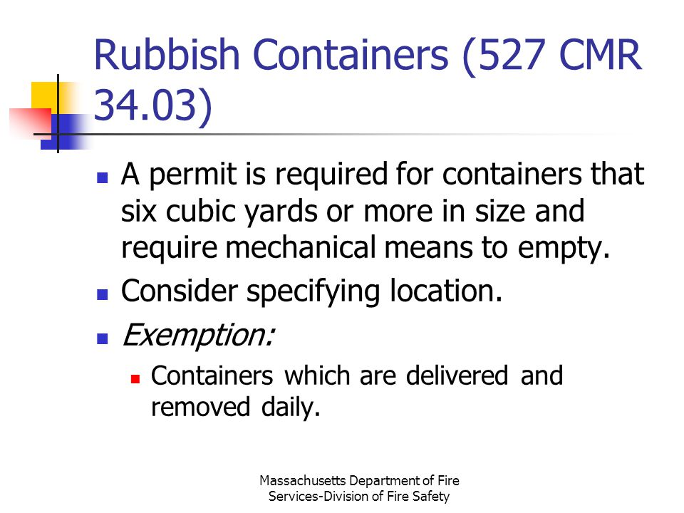 Rubbish Containers (527 CMR 34.03)