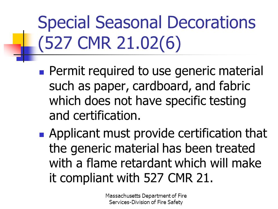 Special Seasonal Decorations (527 CMR 21.02(6)