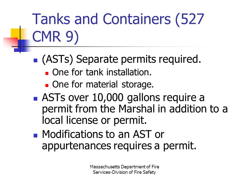 Tanks and Containers (527 CMR 9)