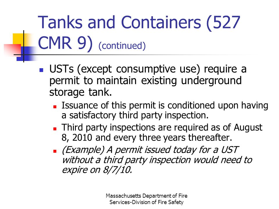 Tanks and Containers (527 CMR 9) (continued)