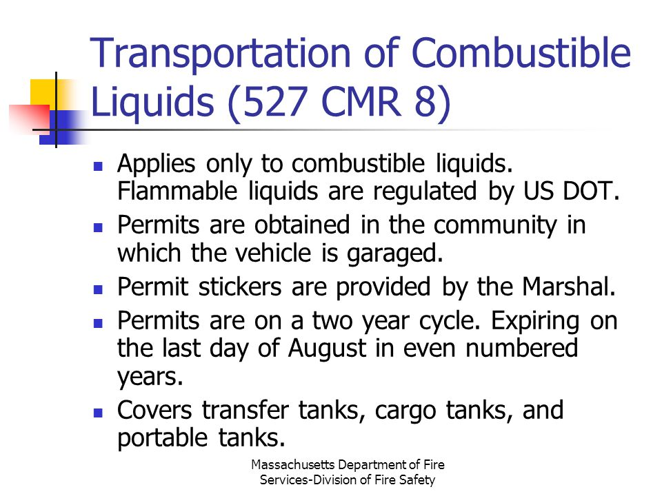 Transportation of Combustible Liquids (527 CMR 8)