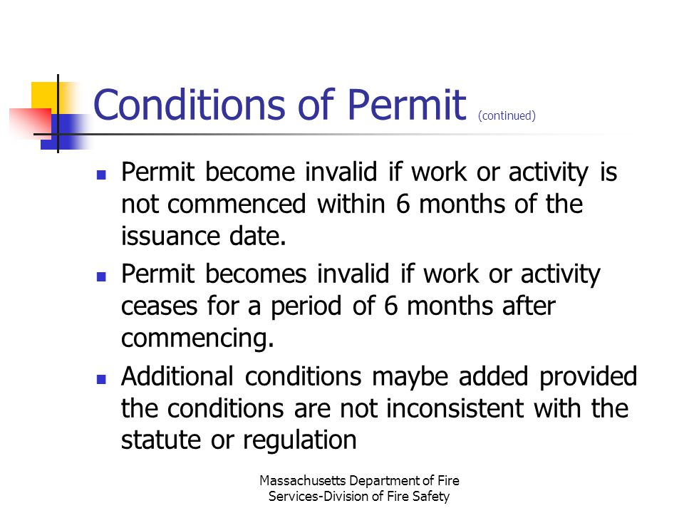Conditions of Permit (continued)