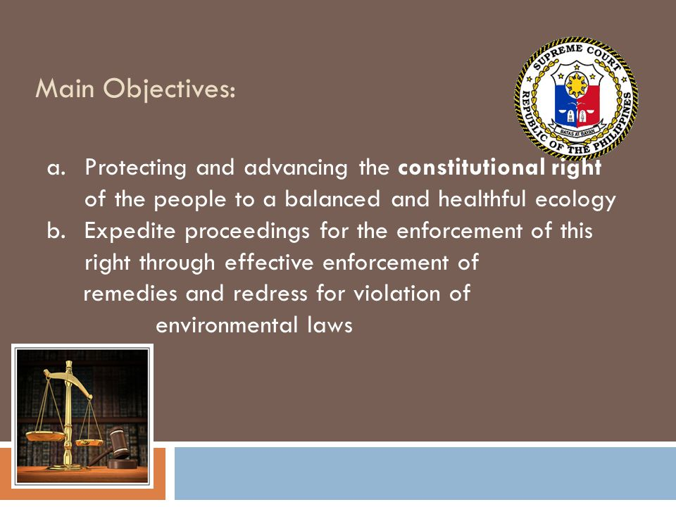 Main Objectives: Protecting and advancing the constitutional right of the people to a balanced and healthful ecology.