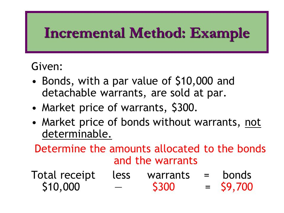 Incremental Method: Example